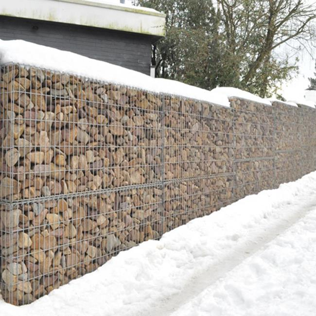 Our concept of vibrated gabions in galvanised aluminium baskets